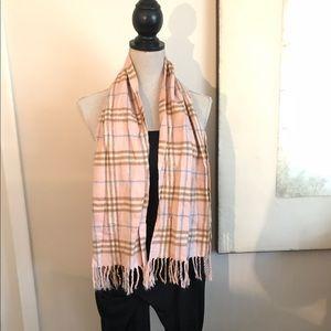 Pale pink plaid designer cashmere scarf